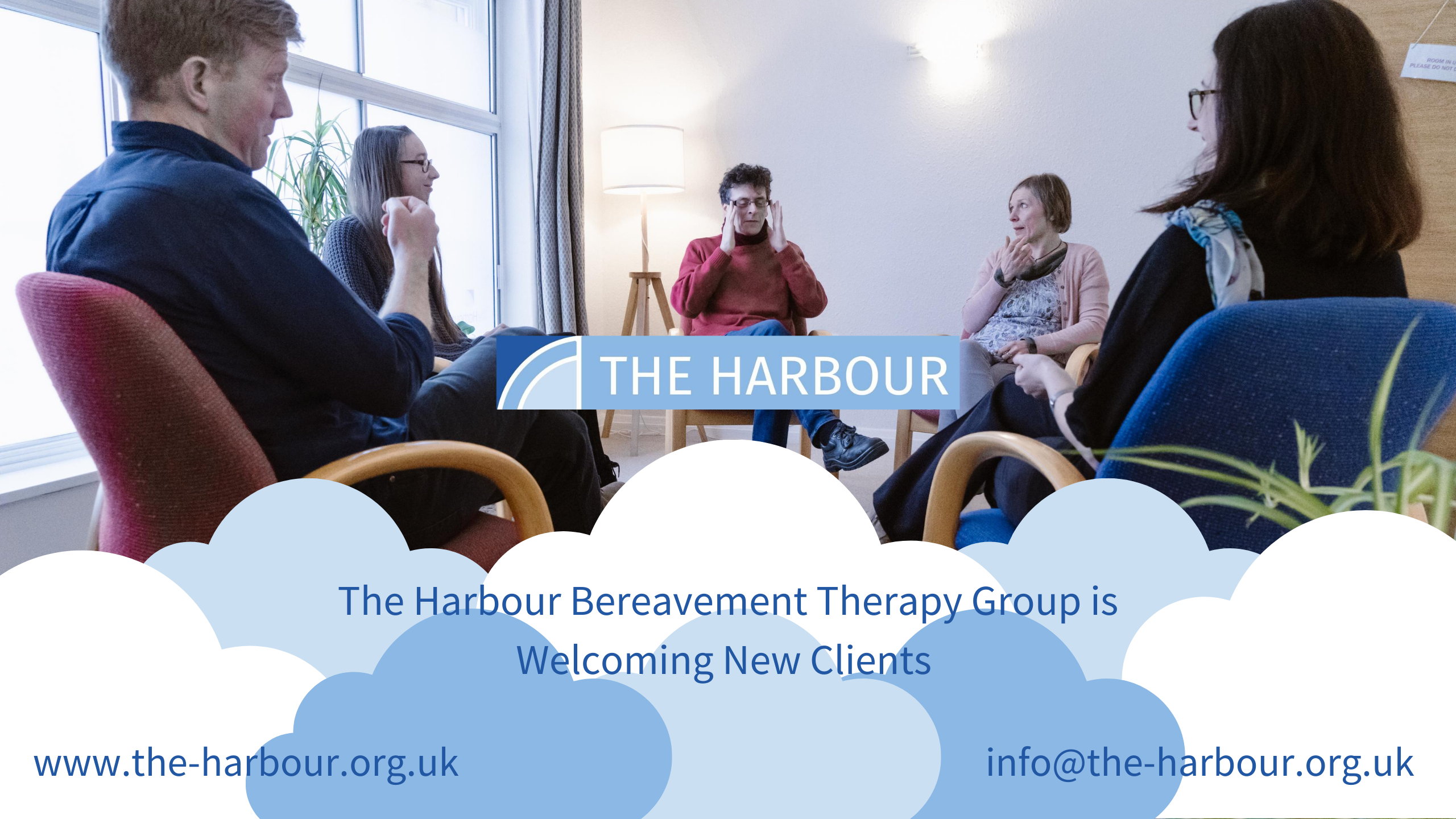 Picture of a therapy group at The Harbour with the text: Harbour Bereavement Therapy Group Welcoming New Clients